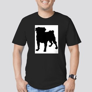 Pug Silhouette Men's Fitted T-Shirt (dark)