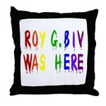 Roy G. Biv Graffiti (color wh Throw Pillow