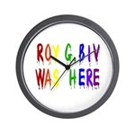 Roy G. Biv Graffiti (color wh Wall Clock