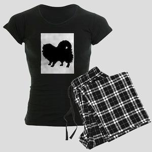 Pomeranian Silhouette Women's Dark Pajamas