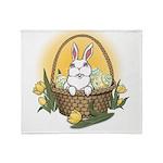 Easter Bunny Basket Plush Fleece Throw Blanket