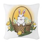 Easter Bunny Basket Woven Throw Pillow