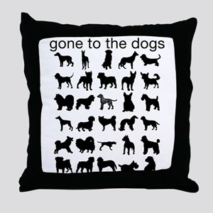 Gone To The Dogs Black Silhou Throw Pillow