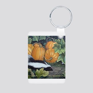 Trick or Treat Skunk Mouse Aluminum Photo Keychain