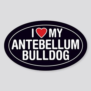 I Love My Antebellum Bulldog Oval Sticker/Decal