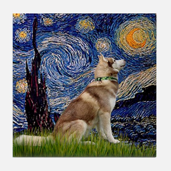 Starry Night & Husky Tile Coaster