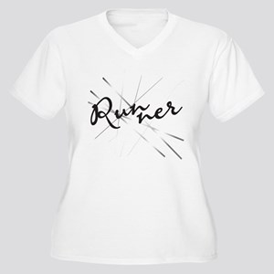 Abstract Runner Women's Plus Size V-Neck T-Shirt