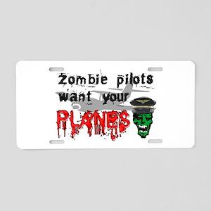 Zombie Pilot Aluminum License Plate