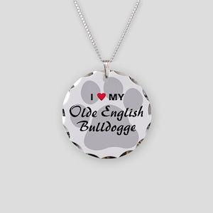 Olde English Bulldogge Necklace Circle Charm