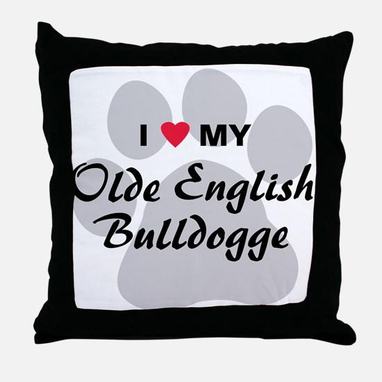 Olde English Bulldogge Throw Pillow