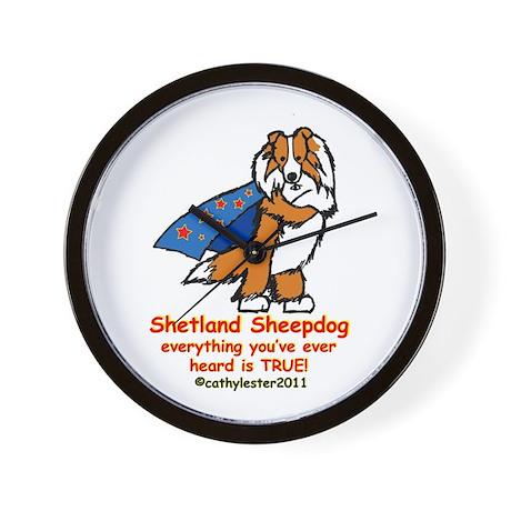 Sable Super Sheltie Wall Clock