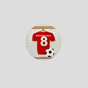 Red Customizable Soccer footb Mini Button