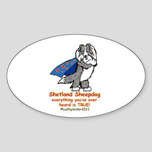 Merle Super Sheltie Sticker (Oval)