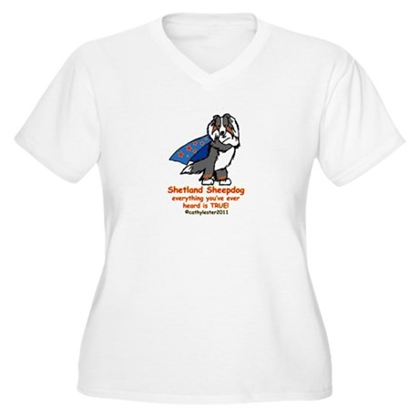 Tri Super Sheltie Women's Plus Size V-Neck T-Shirt