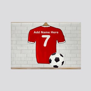 Red Customizable Soccer footb Rectangle Magnet