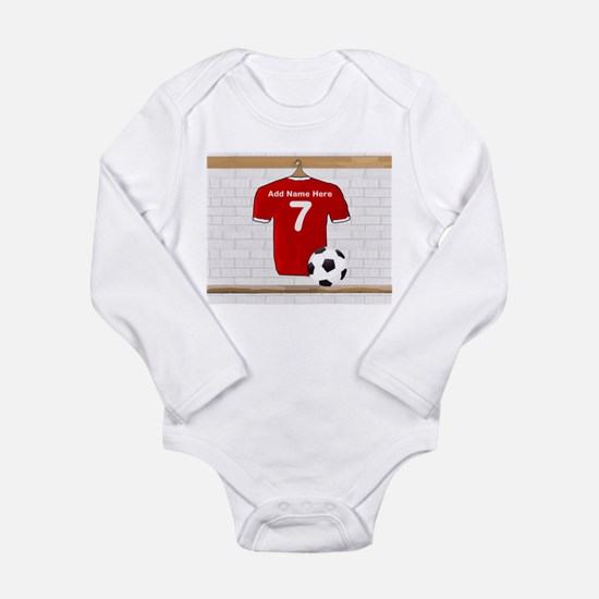 Red Customizable Soccer footb Long Sleeve Infant B