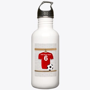 Red Customizable Soccer footb Stainless Water Bott