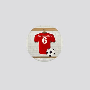 Red Customizable Soccer footb Mini Button