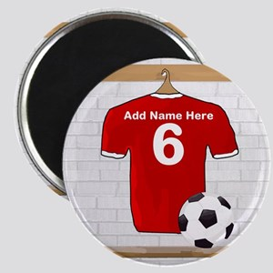 Red Customizable Soccer footb Magnet