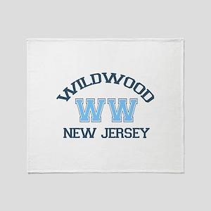 Wildwood NJ - Varsity Design Throw Blanket