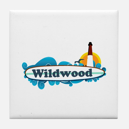 Wildwood NJ - Surf Design Tile Coaster