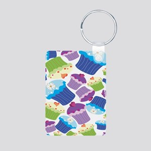 colorful cupcakes Aluminum Photo Keychain