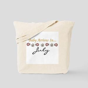 Baby Arrives in July Tote Bag