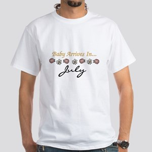 Baby Arrives in July White T-Shirt
