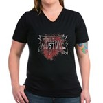 Women's V-Neck Dark T-Shirt of zombieage
