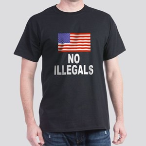 No Illegals Immigration (Front) Black T-Shirt