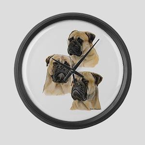 Three Bullmastiff Heads Large Wall Clock