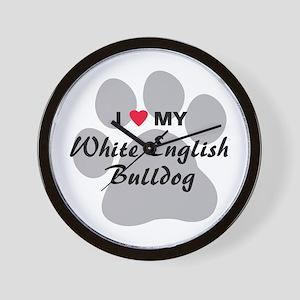 White English Bulldog Wall Clock