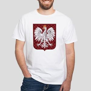 Polish Eagle Plaid Crest White T-Shirt