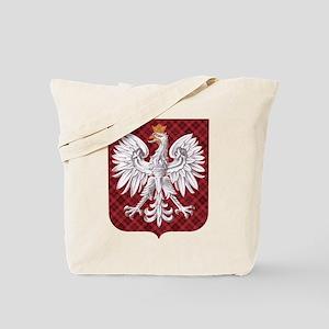Polish Eagle Plaid Crest Tote Bag