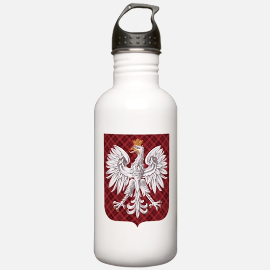 Polish Eagle Plaid Crest Water Bottle