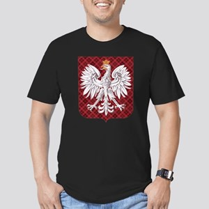 Polish Eagle Plaid Crest Men's Fitted T-Shirt (dar