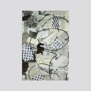 Black and White Crazy Paper Rectangle Magnet