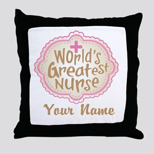 Personalized World's Greatest Nurse Throw Pillow
