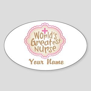 Personalized World's Greatest Nurse Sticker (Oval)