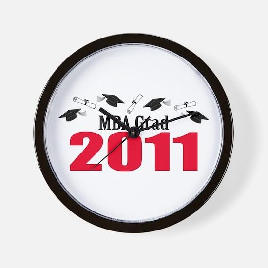 MBA Grad 2011 (Red Caps And Diplomas) Wall Clock