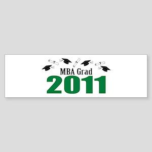 MBA Grad 2011 (Green Caps And Diplomas) Sticker (B