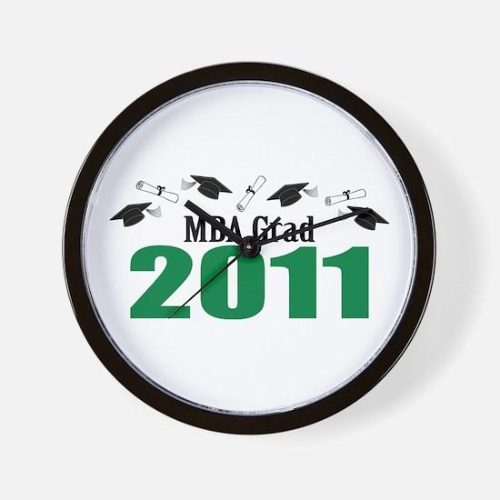 MBA Grad 2011 (Green Caps And Diplomas) Wall Clock