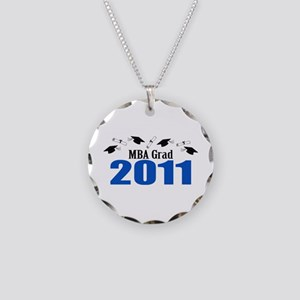 MBA Grad 2011 (Blue Caps And Diplomas) Necklace Ci