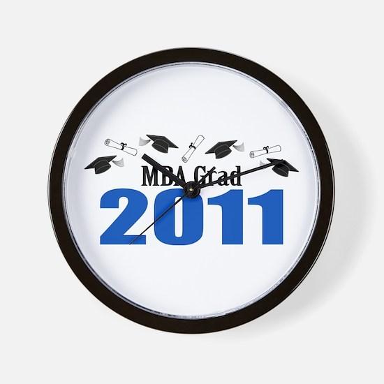 MBA Grad 2011 (Blue Caps And Diplomas) Wall Clock