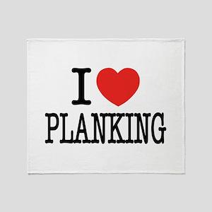 I Love (Heart) Planking Throw Blanket