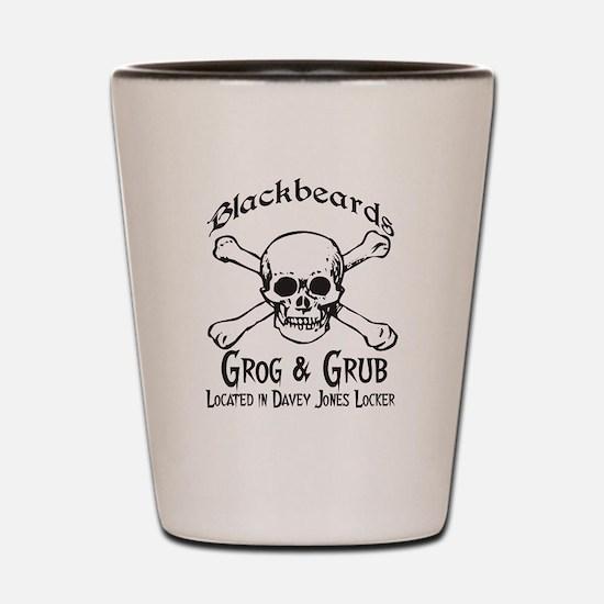 Blackbeards grog and grub Shot Glass