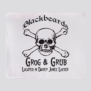 Blackbeards grog and grub Throw Blanket