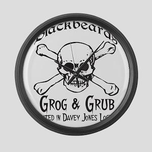 Blackbeards grog and grub Large Wall Clock