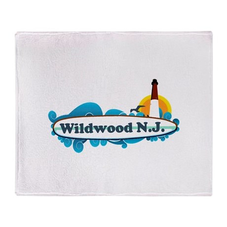 Wildwood NJ - Surf Design Throw Blanket