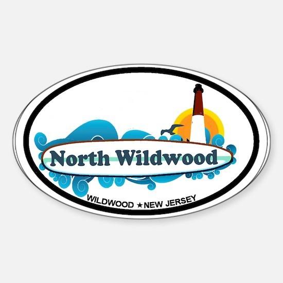 North Wildwood NJ - Surf Design Sticker (Oval)